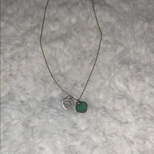 Double heart Tiffany blue necklace